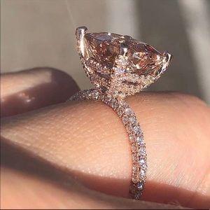 New 18K Rose Gold 6 Carat Round Morganite ring ¥¥